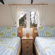Bedroom interior of a Cornish holiday bungalow